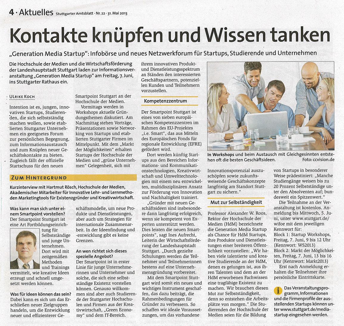Generation Media Startup 2013 Stuttgarter Amtsblatt