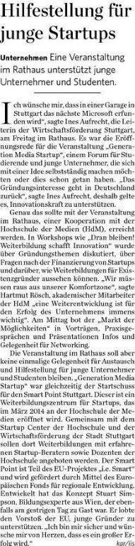 Generation Media Startup 2013 Stuttgarter Zeitung