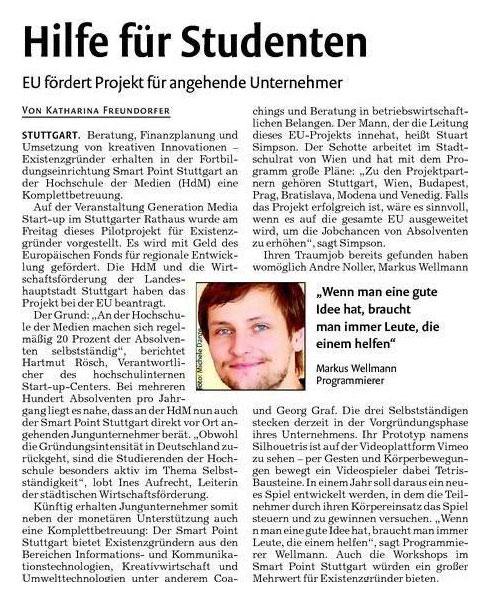 Generation Media Startup 2013 Stuttgarter Nachrichten