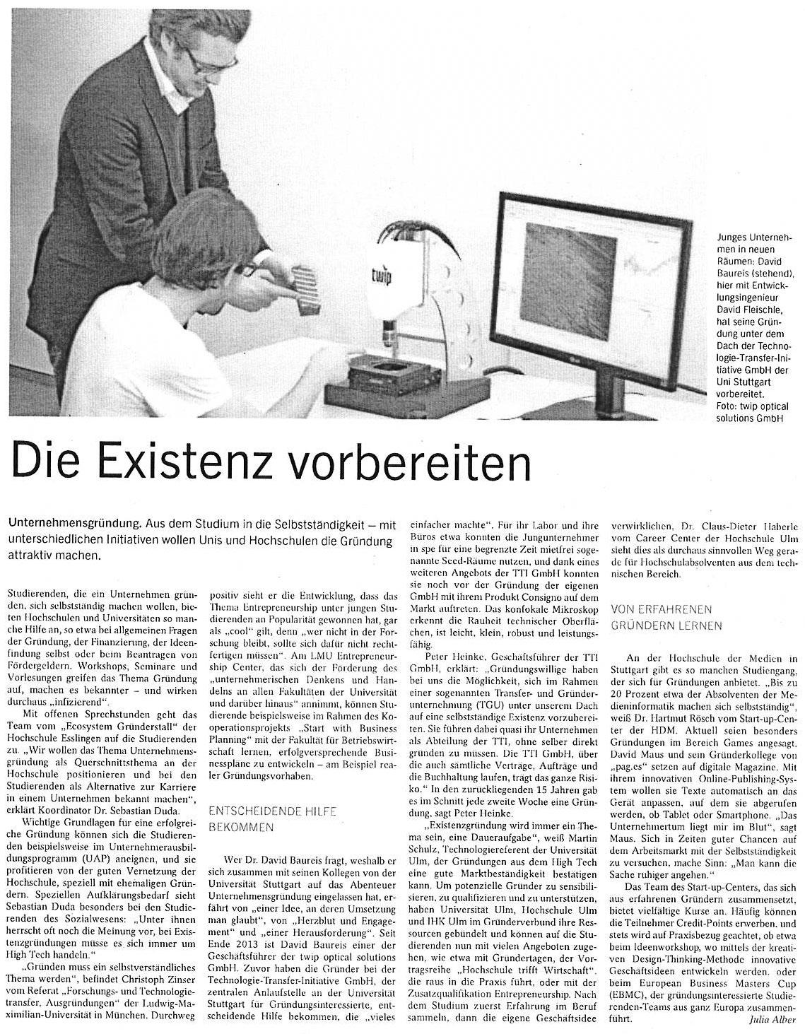 Existenz gründen 2014 Stuttgarter Zeitung