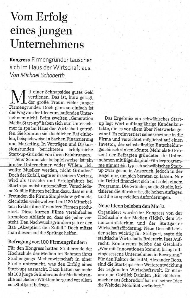 Generation Media Startup 30.06.2014 Stuttgarter Zeitung