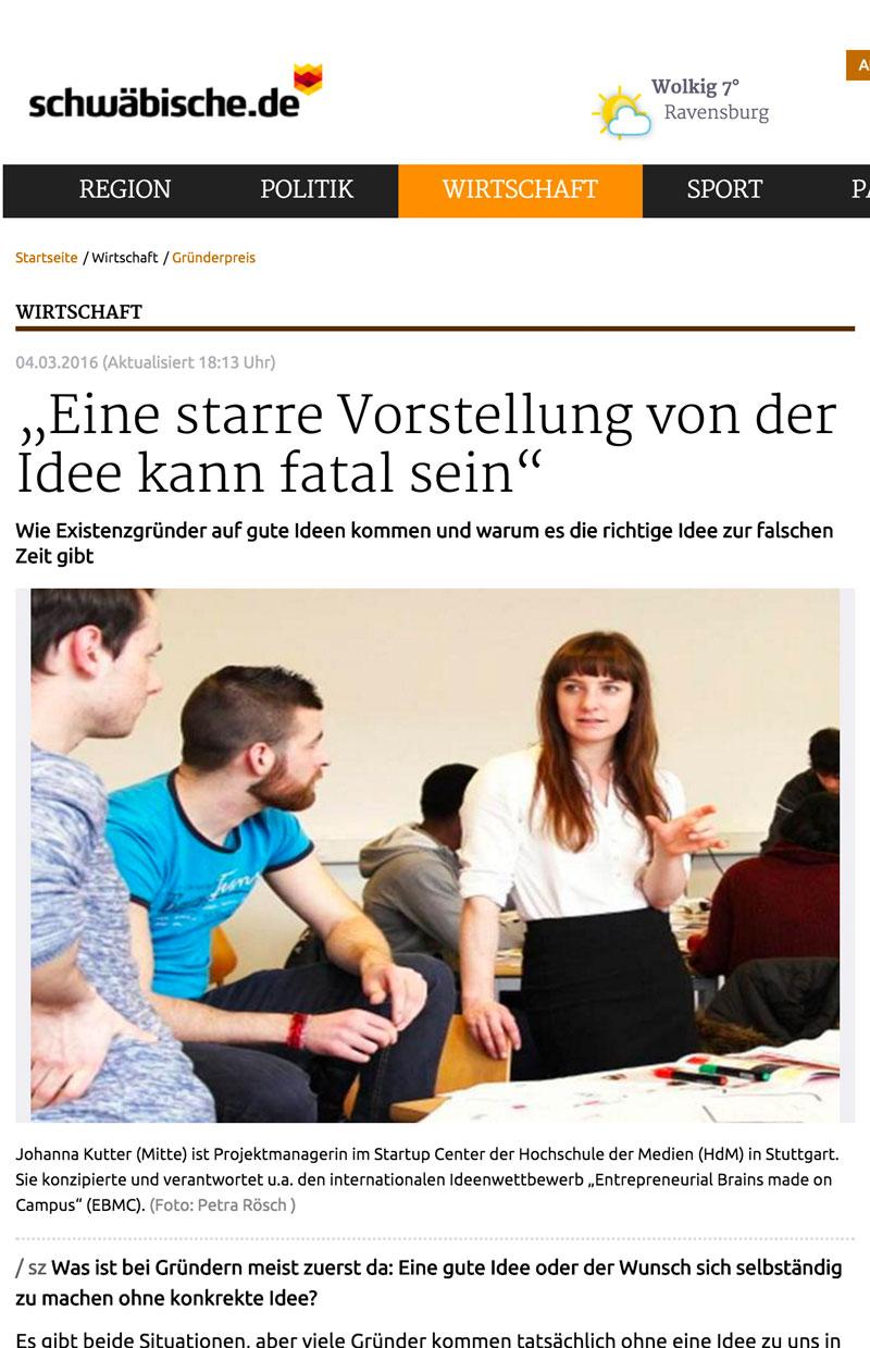 Interview Johanna Kutter 04.03.2016 Schwäbische Zeitung