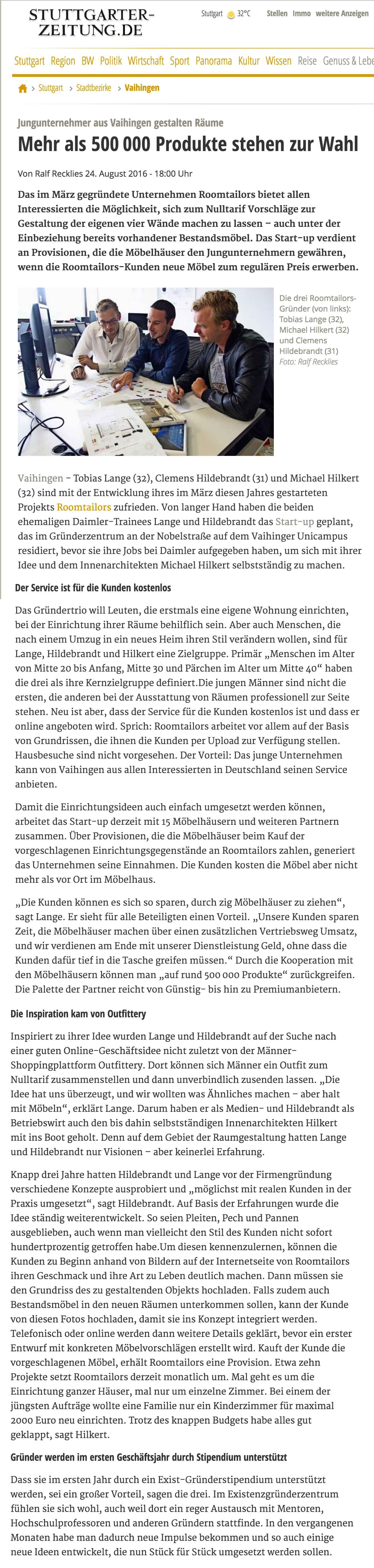 24.08.2016 Roomtailors Stuttgarter Zeitung